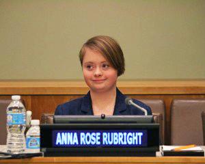 Anna Rose Rubright az inklúzió szerepéről adott elő az ENSZ székházában